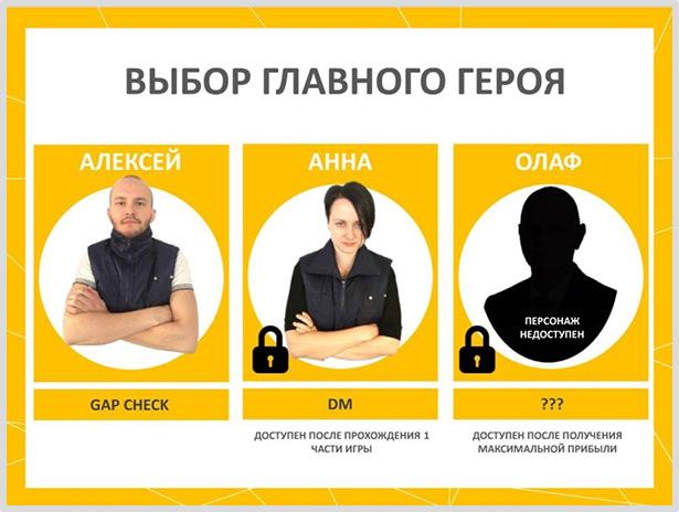 Игра для сотрудников компании Metro: выбор героя