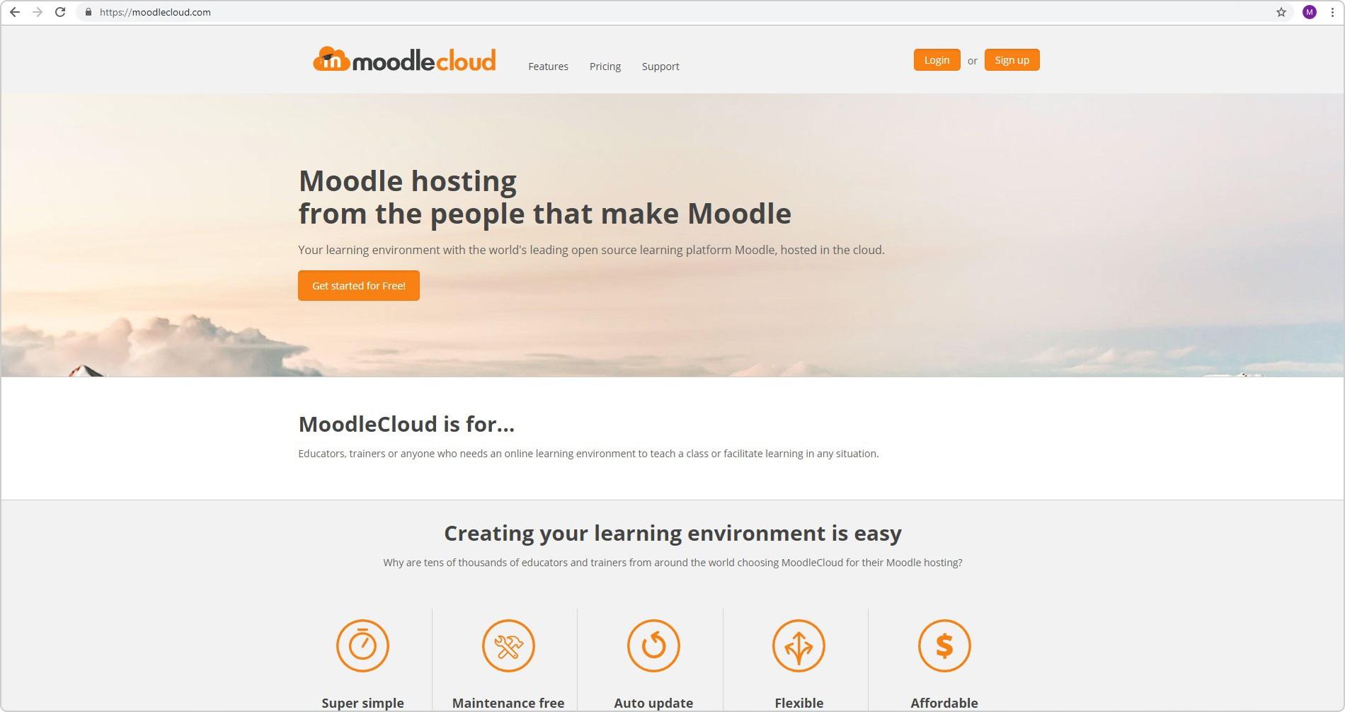 Сайт Moodle Cloud